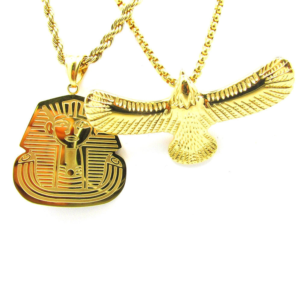 from men necklaces angel pendants jewelry chain bling hiphop plated collier crystal pharaoh charm women chains item gold in rappers pendant piece micro