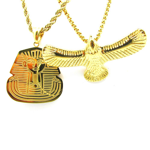 King Tut + 3d Hawk 14k Gold Over Chain Necklace