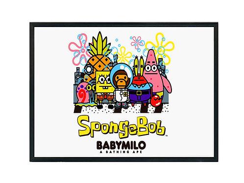 Baby Milo x Sponge Bob Gang Poster Art, Hypebeast Poster Pop Culture Wall Art