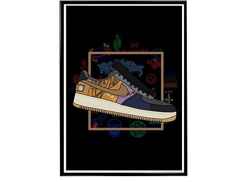 Cactus Jack x AF1 Sneaker Poster, Hypebeast Poster, Kicks Pos