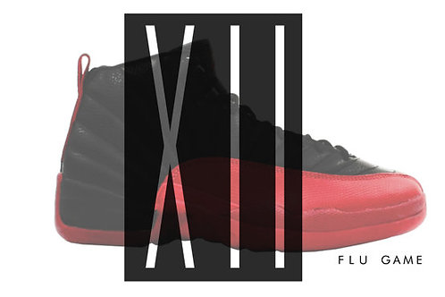 Air Jordan 12 Flu Game Custom Retro Sneaker Poster Art Print