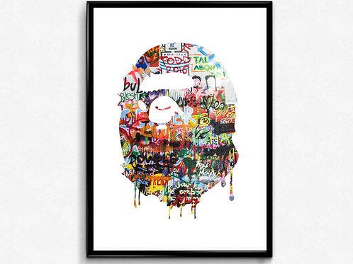 Bape Inspired Poster Art Hypebeast Poster, Pop Culture Wall Art