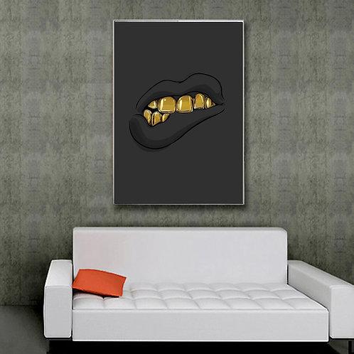 Custom Black Lips & Grill Art Print 12x18 Poster Wall Art