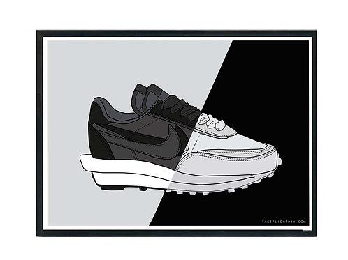 Nike x Sacai LDWaffle Nylon Sneaker Poster, Hypebeast Poster, Kicks Poster
