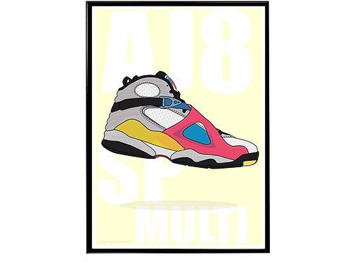 Jordan 8 SP Multi Sneaker Poster, Hypebeast Poster, Kicks Poster