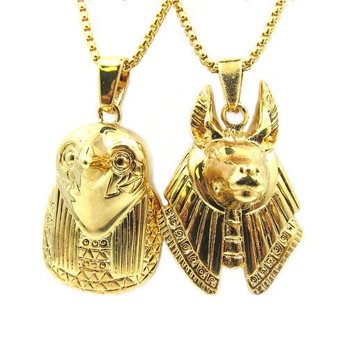Horus + Anubis 3D Micro Chain Set 18k Gold Plated