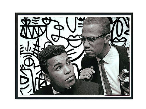 Muhammad & Malcolm Pop Art Graffiti Poster - Canvas