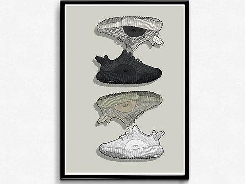 350 Boost V1 History Sneaker Poster Pop Culture Hypebeast Poster Sneaker Art