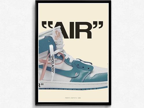 OWJ Blue Poster, Pop Culture Wall Art, Hypebeast Posters, Sneaker Poster