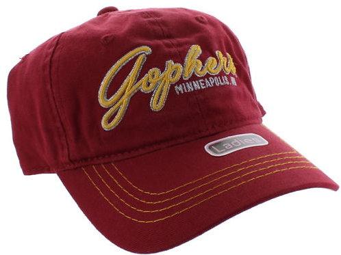 University of Minnesota Golden Gophers Red Script Camo Adjustable Dad Cap