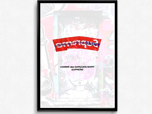 Supreme x CDG Inspired Poster, Hypebeast Poster Print, Pop Culture Poster
