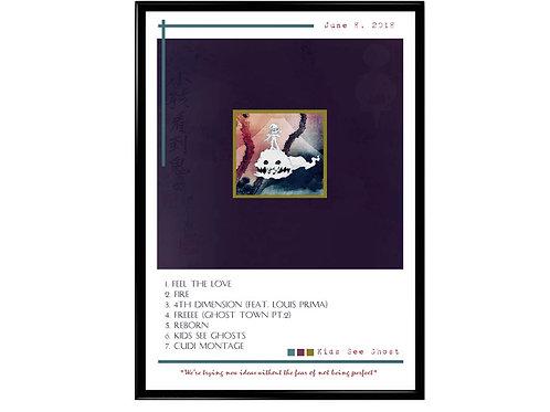 Kids See Ghost Track List Poster, Hypebeast Posters Prints, Yeezy Kid Cudi