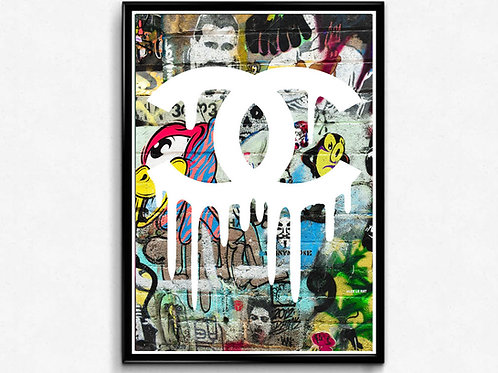 COCO Chanel Inspired Graffiti Poster, Modern Wall Art, Hypebeast Sneaker Poster