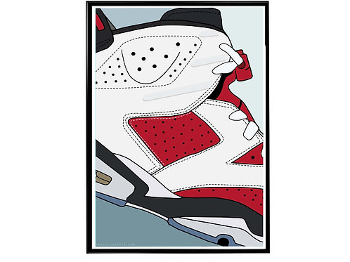 Air Jordan 6 Carmine Close Poster, Hypebeast Poster Sneaker Art