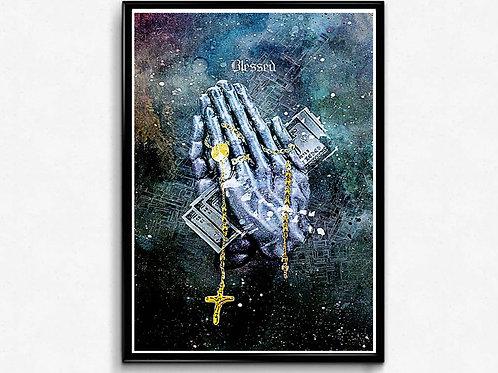 Grunge Prayer Hands Poster Pop Culture Hypebeast Poster Hip Hop Music P