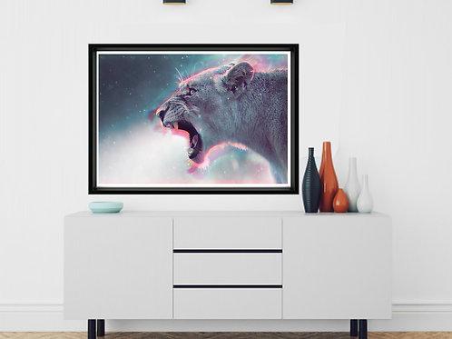 Roaring Lion Poster, Cool Cat Poster Print, Animal Wall Art, Geometric Wall Art