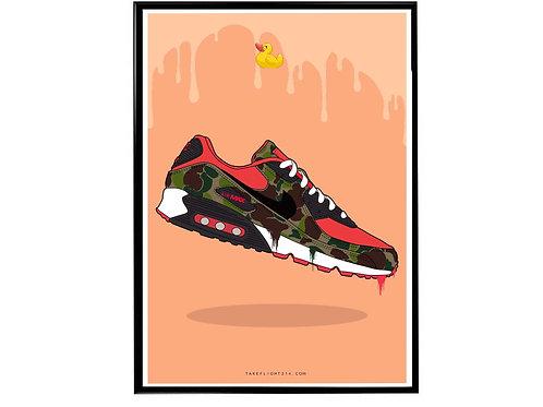 Atmos x Airmax 90 Duck Camo Sneaker Poster, Hypebeast Poster, Kicks Poster