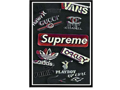 Streetwear Logos Poster, Hypebeast Poster Sneaker Art