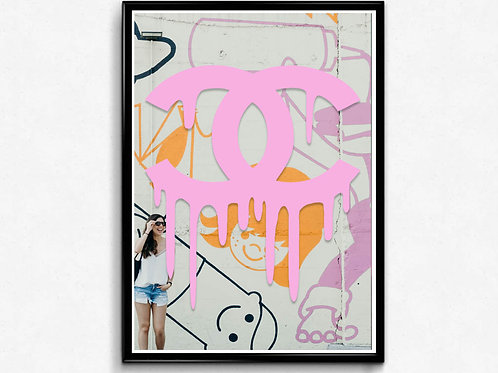 COCO Chanel Inspired Pink Poster, Modern Wall Art, Hypebeast Sneaker Poster