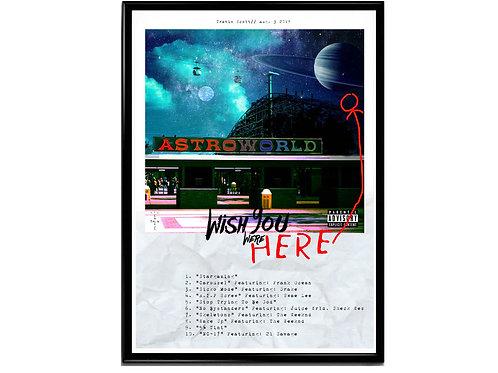 Travis Scott Astroworld Track List Poster, Hypebeast Poster, Modern Pop Art