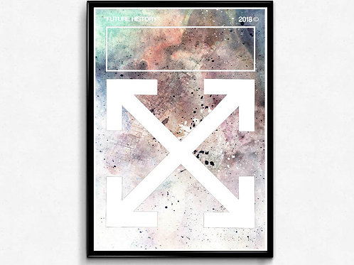 Off White Inspired Abstract Poster, Hypebeast Poster Print, Pop Culture Wall Art