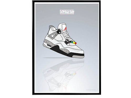 Air Jordan 4 Do The Right Thing Sneaker Poster, Hypebeast Poster, Modern Pop Art