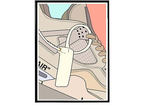 Off White x Air Jordan 4 Sail Close Sneaker Poster, Hypebeast Poster Sneaker