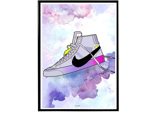 Off White x Nike Blazer Sneaker Poster, Hypebeast Poster, Nike Vapormax Drawing