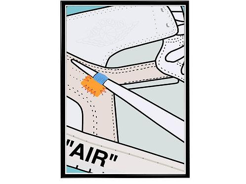Off White x Air Jordan 1 Wt Sneaker Poster, Hypebeast Poster, Modern Pop Art