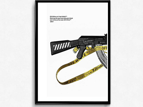Off White AK Poster Art, Hypebeast Poster Print Pop Culture