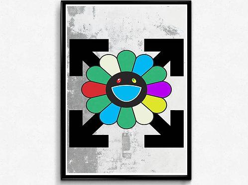 Modern Graffiti Art Flower Poster, Japanese Pop Culture Hypebeast Poster Art