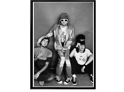 Kurt Cobain Nirvana BW Grunge Band Poster Printable