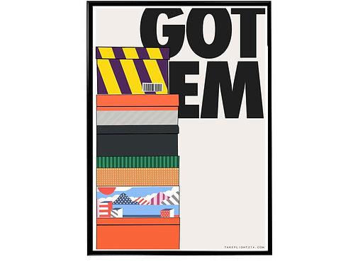 Got Em Sneaker Stack Poster, Hypebeast Poster, Kicks Poster