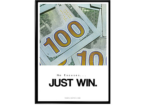 Just Win Minimal Art Motivational Poster, Hypebeast Poster