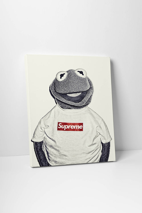 Supreme x Kermit Inspired Canvas Art, Hypebeast Canvas Print Pop Culture Art