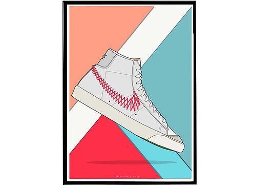 Nike Blazer Zig Zag Sneaker Poster, Hypebeast Poster