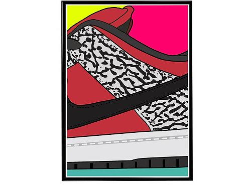 Supreme Dunk Close Sneaker Pop Art Poster, Hypebeast Poster Kicks Poster