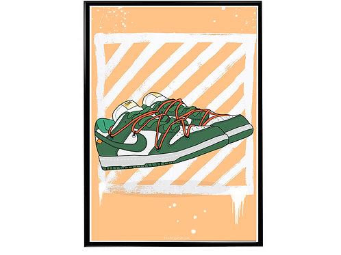 Off White X SB Dunk Sneaker Poster, Hypebeast Poster, Kicks Poster