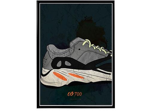 Yeezy Art OG 700 Sneaker Poster, Hypebeast Poster, Modern Pop Art