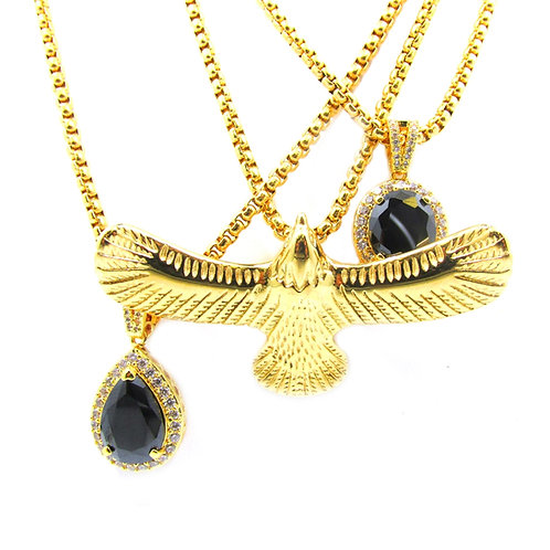2 x Onyx CZ + 3d Hawk 14k Gold Over Charm Pendant