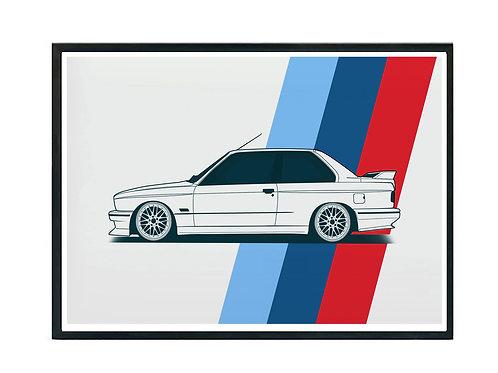 Vintage BMW M3 Poster, Hypebeast Poster Exotic Car Art Motivational Pos