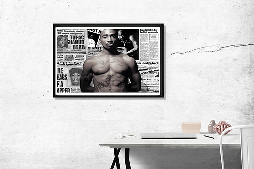 Tupac News Clippings Hypebeast 2 Pac Poster Art 12x18 Poster Art