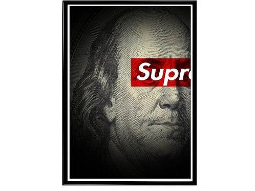 Supreme Ben Franklin Poster, Hypebeast Poster, Modern Pop Art Streetwear Poster