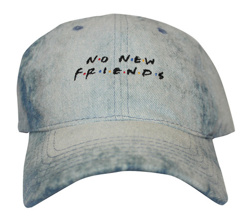 905197d2f3f No New Friends Bleached Acid Wash Denim Drake 6 God OVO Low Profile Dad Hat