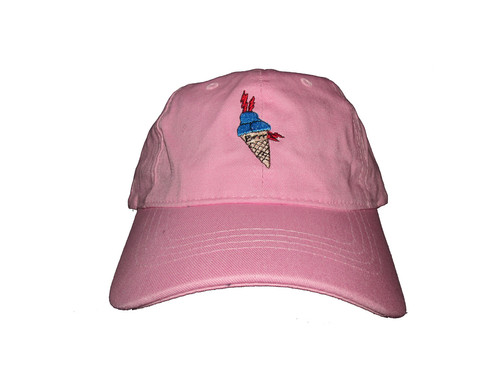 1d7cccbcde9f8 Custom Gucci Mane Ice Cream Cone Meme Salmon Pink Unstructured Twill Cotton Dad  Hat