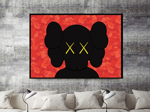 Red Kaws x Bape Inspired Mashup Custom Kicks Sneaker 12x18 Poster Wall Art