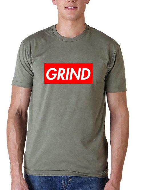 Grind Red Box Logo T Shirt, Streetwear Hypebeast T Shirt