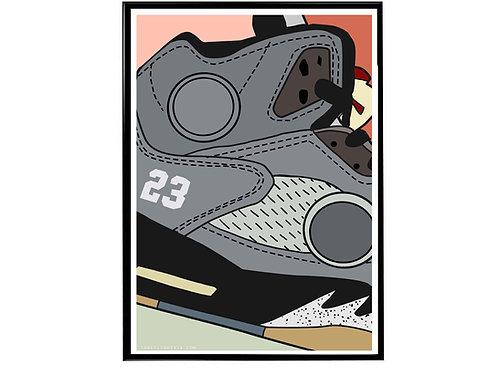 Off White x Air Jordan 5 Close Sneaker Poster, Hypebeast Poster Sneaker Ar