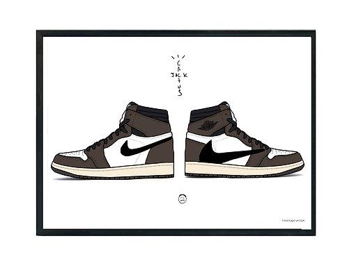 Travis Scott Jordan 1 Sneaker Poster, Hypebeast Poster Kicks Poster