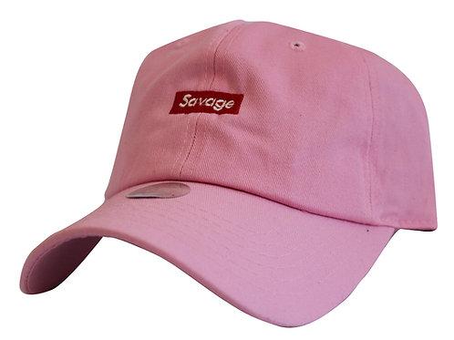 Supreme Savage Box Logo Pink Twill Cotton 21 Savage Low Profile Dad Hat